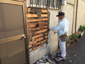 外壁修理リフォーム中-茨木市
